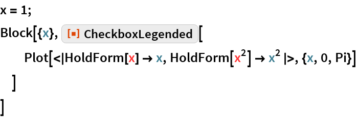 "x = 1; Block[{x}, ResourceFunction[""CheckboxLegended""][   Plot[<