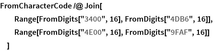 "FromCharacterCode /@ Join[   Range[FromDigits[""3400"", 16], FromDigits[""4DB6"", 16]],   Range[FromDigits[""4E00"", 16], FromDigits[""9FAF"", 16]]   ]"