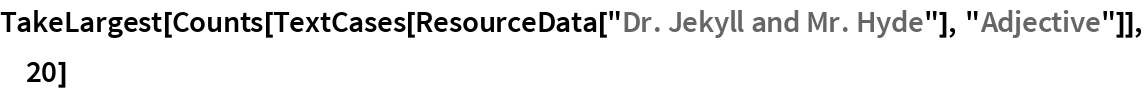 """TakeLargest[  Counts[TextCases[ResourceData[""""Dr. Jekyll and Mr. Hyde""""], """"Adjective""""]], 20]"""