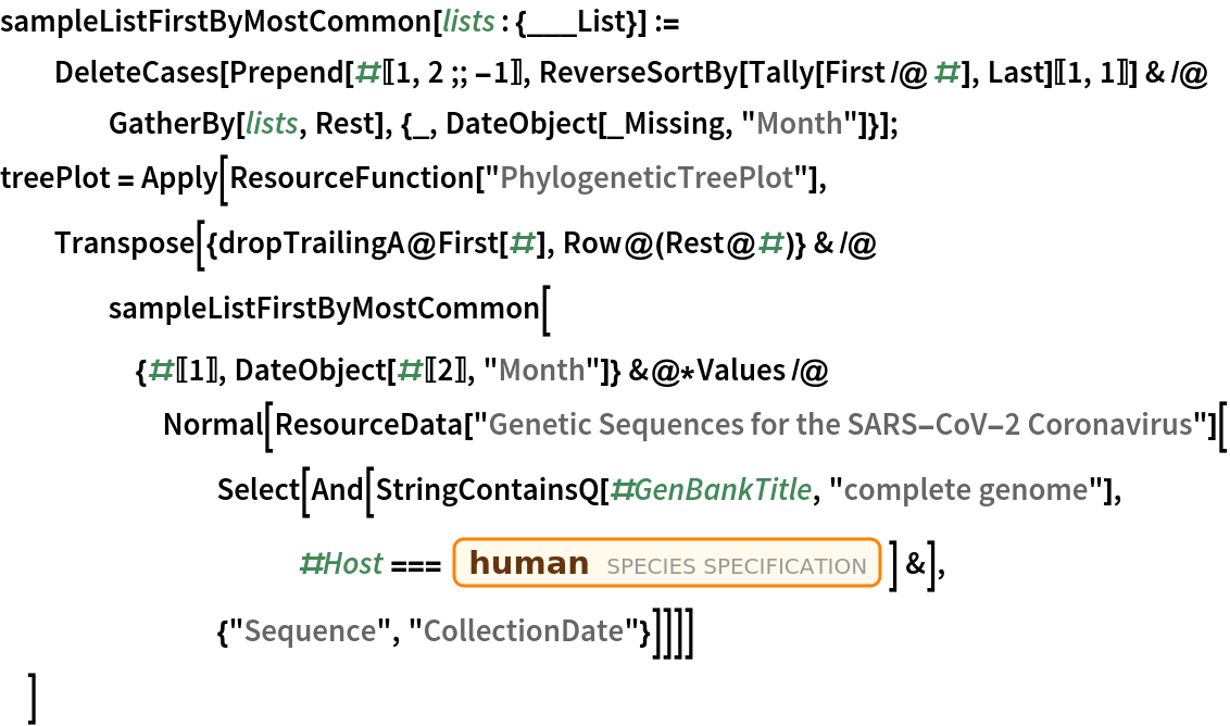 """sampleListFirstByMostCommon[lists : {___List}] := DeleteCases[    Prepend[#[[1, 2 ;; -1]], ReverseSortBy[Tally[First /@ #], Last][[1, 1]]] & /@ GatherBy[lists, Rest], {_, DateObject[_Missing, """"Month""""]}]; treePlot = Apply[ResourceFunction[""""PhylogeneticTreePlot""""], Transpose[{dropTrailingA@First[#], Row@(Rest@#)} & /@ sampleListFirstByMostCommon[{#[[1]], DateObject[#[[2]], """"Month""""]} &@*Values /@ Normal[ResourceData[          """"Genetic Sequences for the SARS-CoV-2 Coronavirus""""][         Select[And[            StringContainsQ[#GenBankTitle, """"complete genome""""], #Host ===              Entity[""""Species"""", """"Species:HomoSapiens""""]] &], {""""Sequence"""", """"CollectionDate""""}]]]]   ]"""