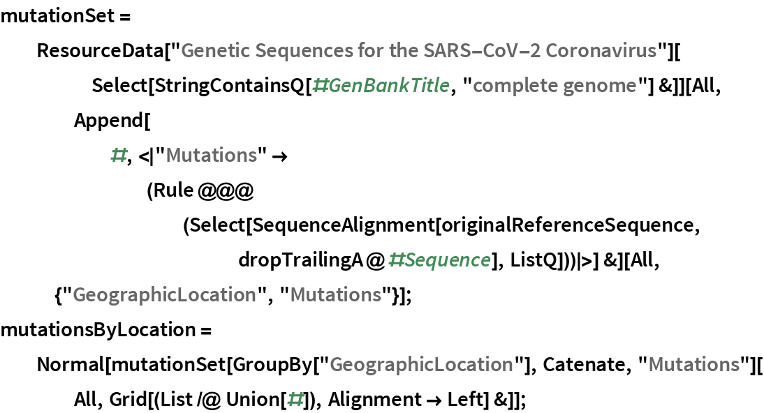 """mutationSet = ResourceData[""""Genetic Sequences for the SARS-CoV-2 Coronavirus""""][      Select[StringContainsQ[#GenBankTitle, """"complete genome""""] &]][All,      Append[#, <