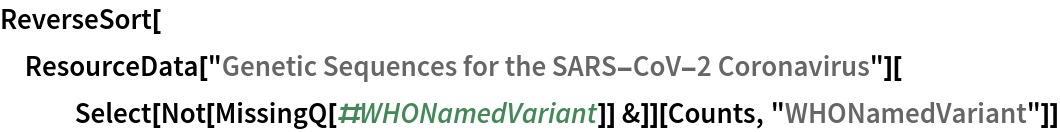 """ReverseSort[  ResourceData[""""Genetic Sequences for the SARS-CoV-2 Coronavirus""""][    Select[Not[MissingQ[#WHONamedVariant]] &]][Counts, """"WHONamedVariant""""]]"""