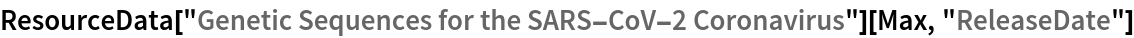 "ResourceData[   ""Genetic Sequences for the SARS-CoV-2 Coronavirus""][Max, \ ""ReleaseDate""]"