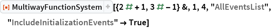 "ResourceFunction[  ""MultiwayFunctionSystem""][{2 # + 1, 3 # - 1} &, 1, 4, ""AllEventsList"", ""IncludeInitializationEvents"" -> True]"
