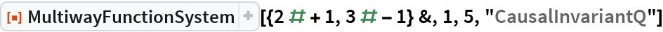 """ResourceFunction[  """"MultiwayFunctionSystem""""][{2 # + 1, 3 # - 1} &, 1, 5, """"CausalInvariantQ""""]"""