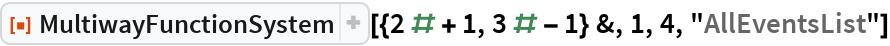 """ResourceFunction[  """"MultiwayFunctionSystem""""][{2 # + 1, 3 # - 1} &, 1, 4, """"AllEventsList""""]"""