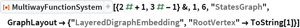 "ResourceFunction[  ""MultiwayFunctionSystem""][{2 # + 1, 3 # - 1} &, 1, 6, ""StatesGraph"", GraphLayout -> {""LayeredDigraphEmbedding"", ""RootVertex"" -> ToString[1]}]"