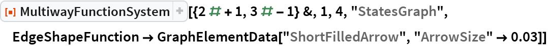 "ResourceFunction[  ""MultiwayFunctionSystem""][{2 # + 1, 3 # - 1} &, 1, 4, ""StatesGraph"", EdgeShapeFunction -> GraphElementData[""ShortFilledArrow"", ""ArrowSize"" -> 0.03]]"
