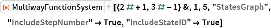 "ResourceFunction[  ""MultiwayFunctionSystem""][{2 # + 1, 3 # - 1} &, 1, 5, ""StatesGraph"", ""IncludeStepNumber"" -> True, ""IncludeStateID"" -> True]"