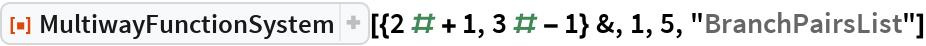"""ResourceFunction[  """"MultiwayFunctionSystem""""][{2 # + 1, 3 # - 1} &, 1, 5, """"BranchPairsList""""]"""