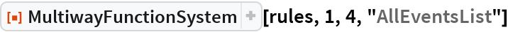 "ResourceFunction[  ""MultiwayFunctionSystem""][rules, 1, 4, ""AllEventsList""]"