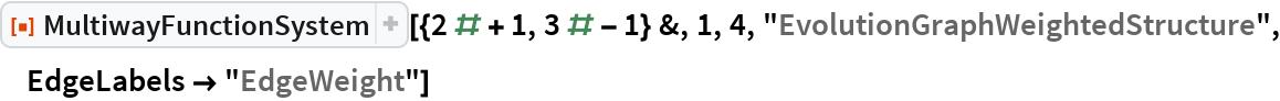 "ResourceFunction[  ""MultiwayFunctionSystem""][{2 # + 1, 3 # - 1} &, 1, 4, ""EvolutionGraphWeightedStructure"", EdgeLabels -> ""EdgeWeight""]"