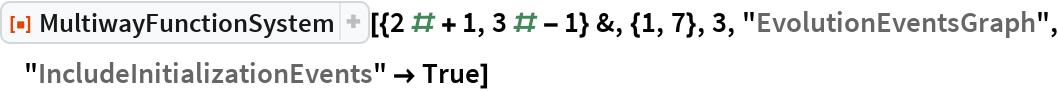 "ResourceFunction[  ""MultiwayFunctionSystem""][{2 # + 1, 3 # - 1} &, {1, 7}, 3, ""EvolutionEventsGraph"", ""IncludeInitializationEvents"" -> True]"