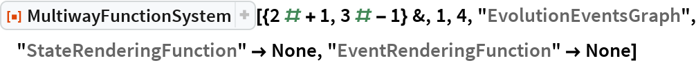 """ResourceFunction[  """"MultiwayFunctionSystem""""][{2 # + 1, 3 # - 1} &, 1, 4, """"EvolutionEventsGraph"""", """"StateRenderingFunction"""" -> None, """"EventRenderingFunction"""" -> None]"""
