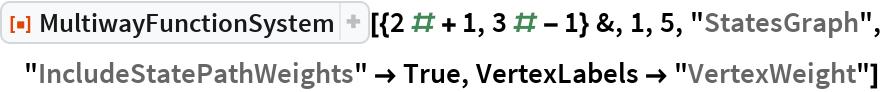 """ResourceFunction[  """"MultiwayFunctionSystem""""][{2 # + 1, 3 # - 1} &, 1, 5, """"StatesGraph"""", """"IncludeStatePathWeights"""" -> True, VertexLabels -> """"VertexWeight""""]"""