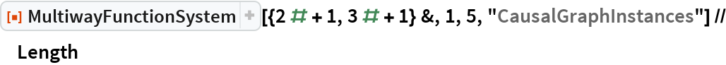 """ResourceFunction[""""MultiwayFunctionSystem""""][{2 # + 1, 3 # + 1} &, 1, 5,    """"CausalGraphInstances""""] // Length"""