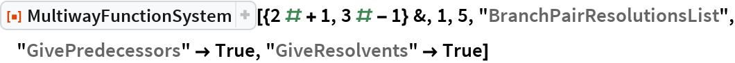 """ResourceFunction[  """"MultiwayFunctionSystem""""][{2 # + 1, 3 # - 1} &, 1, 5, """"BranchPairResolutionsList"""", """"GivePredecessors"""" -> True, """"GiveResolvents"""" -> True]"""