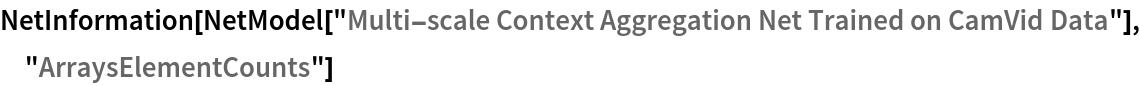 "NetInformation[  NetModel[""Multi-scale Context Aggregation Net Trained on CamVid \ Data""], ""ArraysElementCounts""]"
