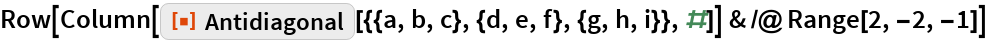 "Row[Column[     ResourceFunction[      ""Antidiagonal""][{{a, b, c}, {d, e, f}, {g, h, i}}, #]] & /@ Range[2, -2, -1]]"