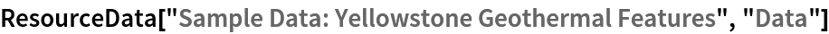 "ResourceData[\!\(\* TagBox[""\""\<Sample Data: Yellowstone Geothermal Features\>\"""", #& , BoxID -> ""ResourceTag-Sample Data: Yellowstone Geothermal Features-Input"", AutoDelete->True]\), ""Data""]"