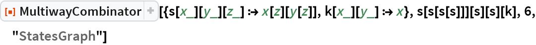 "ResourceFunction[  ""MultiwayCombinator""][{s[x_][y_][z_] :> x[z][y[z]], k[x_][y_] :> x}, s[s[s[s]]][s][s][k], 6, ""StatesGraph""]"