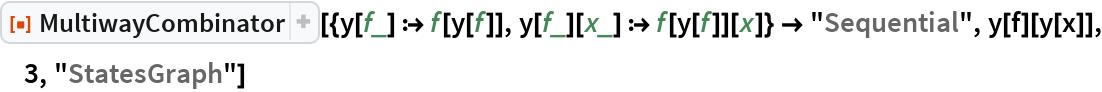 """ResourceFunction[  """"MultiwayCombinator""""][{y[f_] :> f[y[f]], y[f_][x_] :> f[y[f]][x]} -> """"Sequential"""", y[f][y[x]], 3, """"StatesGraph""""]"""