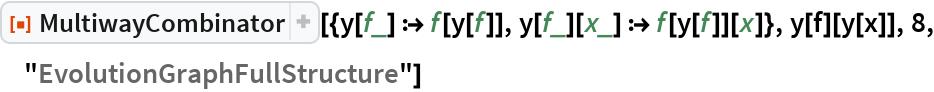 """ResourceFunction[  """"MultiwayCombinator""""][{y[f_] :> f[y[f]], y[f_][x_] :> f[y[f]][x]}, y[f][y[x]], 8, """"EvolutionGraphFullStructure""""]"""