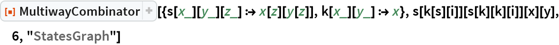 "ResourceFunction[  ""MultiwayCombinator""][{s[x_][y_][z_] :> x[z][y[z]], k[x_][y_] :> x}, s[k[s][i]][s[k][k][i]][x][y], 6, ""StatesGraph""]"