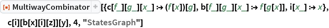 "ResourceFunction[  ""MultiwayCombinator""][{c[f_][g_][x_] :> (f[x])[g], b[f_][g_][x_] :> f[g[x]], i[x_] :> x}, c[i][b[x][i][z]][y], 4, ""StatesGraph""]"