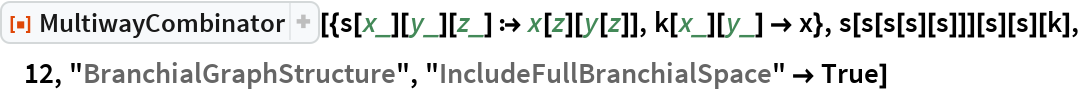 "ResourceFunction[  ""MultiwayCombinator""][{s[x_][y_][z_] :> x[z][y[z]], k[x_][y_] -> x}, s[s[s[s][s]]][s][s][k], 12, ""BranchialGraphStructure"", ""IncludeFullBranchialSpace"" -> True]"