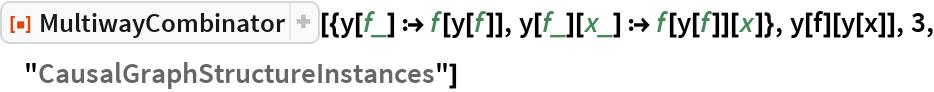 "ResourceFunction[  ""MultiwayCombinator""][{y[f_] :> f[y[f]], y[f_][x_] :> f[y[f]][x]}, y[f][y[x]], 3, ""CausalGraphStructureInstances""]"