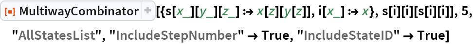 """ResourceFunction[  """"MultiwayCombinator""""][{s[x_][y_][z_] :> x[z][y[z]], i[x_] :> x}, s[i][i][s[i][i]], 5, """"AllStatesList"""", """"IncludeStepNumber"""" -> True, """"IncludeStateID"""" -> True]"""