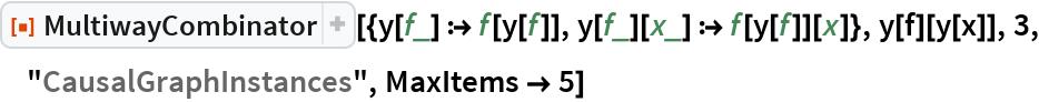 """ResourceFunction[  """"MultiwayCombinator""""][{y[f_] :> f[y[f]], y[f_][x_] :> f[y[f]][x]}, y[f][y[x]], 3, """"CausalGraphInstances"""", MaxItems -> 5]"""