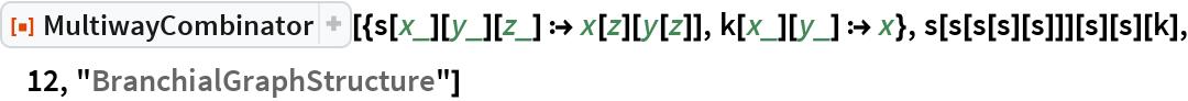 "ResourceFunction[  ""MultiwayCombinator""][{s[x_][y_][z_] :> x[z][y[z]], k[x_][y_] :> x}, s[s[s[s][s]]][s][s][k], 12, ""BranchialGraphStructure""]"