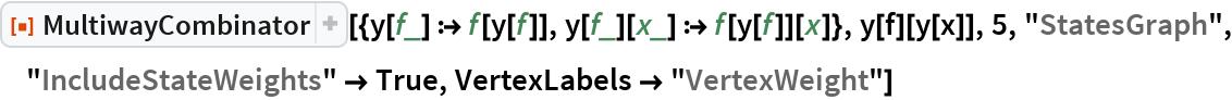 """ResourceFunction[  """"MultiwayCombinator""""][{y[f_] :> f[y[f]], y[f_][x_] :> f[y[f]][x]}, y[f][y[x]], 5, """"StatesGraph"""", """"IncludeStateWeights"""" -> True, VertexLabels -> """"VertexWeight""""]"""