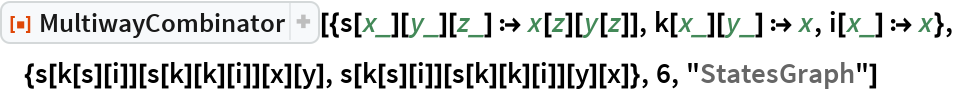"""ResourceFunction[  """"MultiwayCombinator""""][{s[x_][y_][z_] :> x[z][y[z]], k[x_][y_] :> x, i[x_] :> x}, {s[k[s][i]][s[k][k][i]][x][y], s[k[s][i]][s[k][k][i]][y][x]}, 6, """"StatesGraph""""]"""