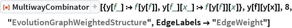 """ResourceFunction[  """"MultiwayCombinator""""][{y[f_] :> f[y[f]], y[f_][x_] :> f[y[f]][x]}, y[f][y[x]], 8, """"EvolutionGraphWeightedStructure"""", EdgeLabels -> """"EdgeWeight""""]"""