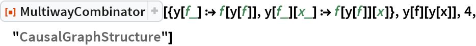 """ResourceFunction[  """"MultiwayCombinator""""][{y[f_] :> f[y[f]], y[f_][x_] :> f[y[f]][x]}, y[f][y[x]], 4, """"CausalGraphStructure""""]"""
