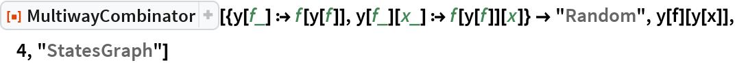 """ResourceFunction[  """"MultiwayCombinator""""][{y[f_] :> f[y[f]], y[f_][x_] :> f[y[f]][x]} -> """"Random"""", y[f][y[x]], 4, """"StatesGraph""""]"""