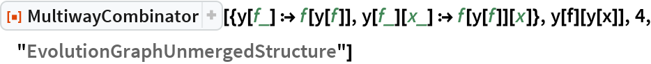 """ResourceFunction[  """"MultiwayCombinator""""][{y[f_] :> f[y[f]], y[f_][x_] :> f[y[f]][x]}, y[f][y[x]], 4, """"EvolutionGraphUnmergedStructure""""]"""
