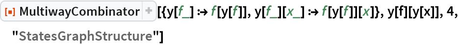 """ResourceFunction[  """"MultiwayCombinator""""][{y[f_] :> f[y[f]], y[f_][x_] :> f[y[f]][x]}, y[f][y[x]], 4, """"StatesGraphStructure""""]"""