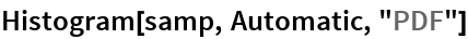 "Histogram[samp, Automatic, ""PDF""]"