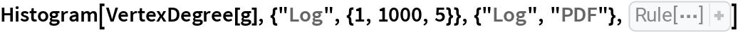 "Histogram[VertexDegree[g], {""Log"", {1, 1000, 5}}, {""Log"", ""PDF""}, AxesLabel -> {   ""Degree \!\(\*\nStyleBox[\""k\"",\nFontSlant->\""Italic\""]\)"", ""\!\(\*SubscriptBox[\(p\), \(k\)]\)""}]"