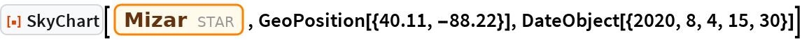 "ResourceFunction[""SkyChart""][Entity[""Star"", ""Mizar""], GeoPosition[{40.11, -88.22}], DateObject[{2020, 8, 4, 15, 30}]]"