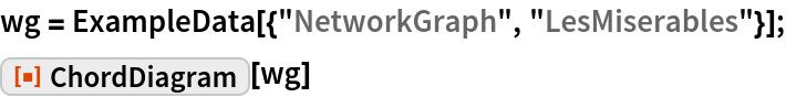 "wg = ExampleData[{""NetworkGraph"", ""LesMiserables""}]; ResourceFunction[""ChordDiagram""][wg]"