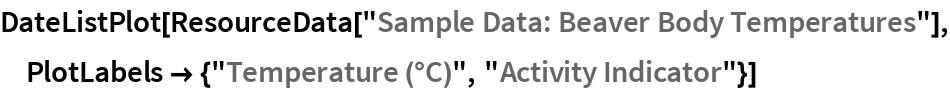 """DateListPlot[ResourceData[""""Sample Data: Beaver Body Temperatures""""], PlotLabels -> {""""Temperature (\[Degree]C)"""", """"Activity Indicator""""}]"""