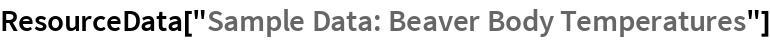 """ResourceData[""""Sample Data: Beaver Body Temperatures""""]"""