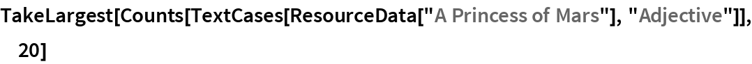 """TakeLargest[  Counts[TextCases[ResourceData[""""A Princess of Mars""""], """"Adjective""""]], 20]"""