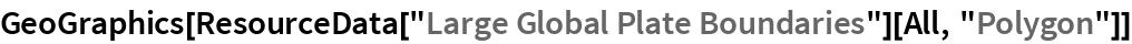"GeoGraphics[  ResourceData[""Large Global Plate Boundaries""][All, ""Polygon""]]"