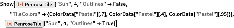 "Show[ResourceFunction[""PenroseTile""][""Sun"", 4, ""Outlines"" -> False, ""TileColors"" -> {ColorData[""Pastel""][.7], ColorData[""Pastel""][.4], ColorData[""Pastel""][.95]}], ResourceFunction[""PenroseTile""][""Sun"", 4, ""Outlines"" -> True]]"